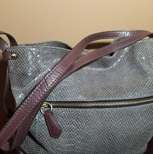 Oryany snake embossed with leather trim bag